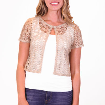 Nina Leonard Short Sleeve Crochet Bolero