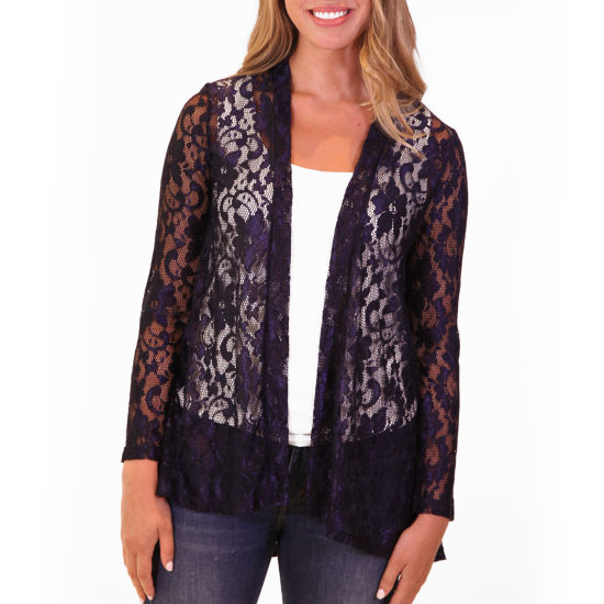 Nina Leonard Long Sleeve Godet Back Lace Cardigan