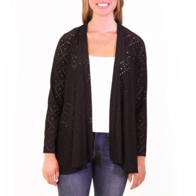 Nina Leonard Long Sleeve Eyelet Godet Back Cardigan