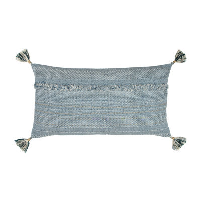 Rizzy Home Sean With Gold Metallic And Tassels  Deconstructed Decorative Pillow