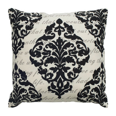 Rizzy Home Emma Script Under Print With Damask Decorative Pillow