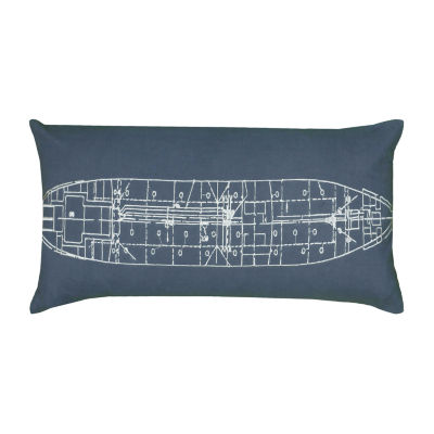 Rizzy Home Claire Boat Schematic Decorative Pillow