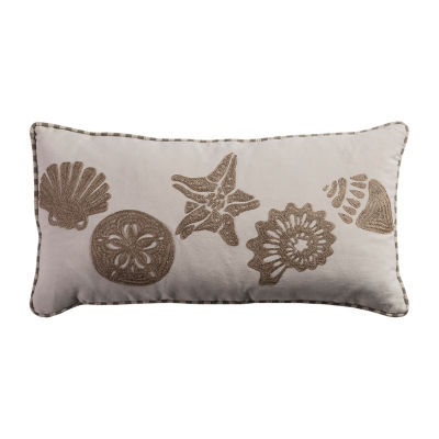 Rizzy Home Max Conch  Sand Dollar  Starfish Embroidered Decorative Pillow