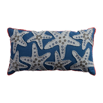 Rizzy Home Laurie Starfish With Brads Applied Decorative Pillow