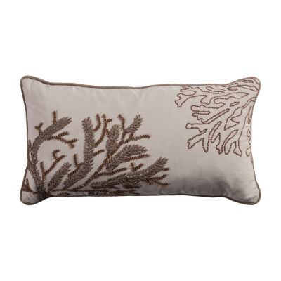 Rizzy Home Ella Coral With Ribbon Embroidery And Hand Beading Decorative Pillow