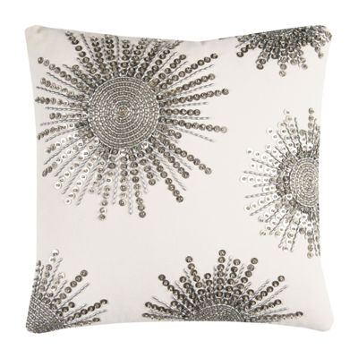 Rizzy Home Jasper Starburst Beaded Textural Decorative Pillow