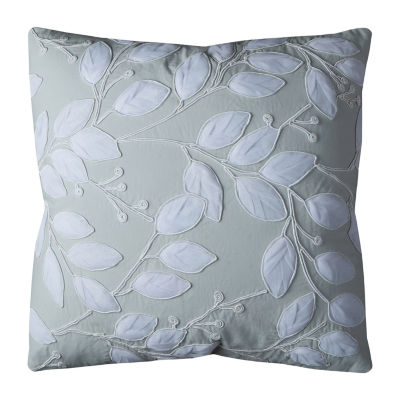 Rizzy Home Nye Net Applique With Satin Rope Trim Botanical Transitional Decorative Pillow