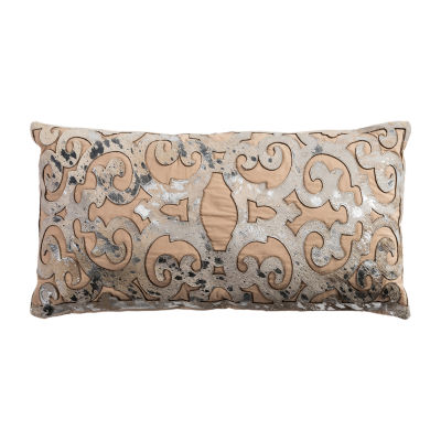 Rizzy Home Garrett Hair On Hide With Foil Print Decorative Pillow