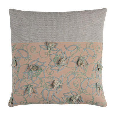 Rizzy Home Lesly Blocked With Tassels Decorative Pillow
