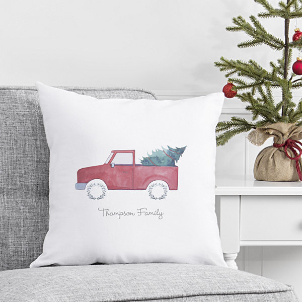 Cathy's Concepts Personalized Christmas Tree Truck Pillow