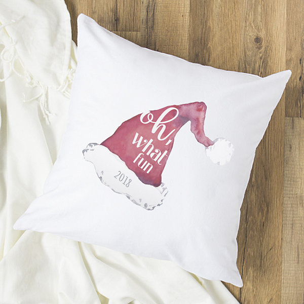 Cathy's Concepts Personalized Oh What Fun Santa Hat Pillow