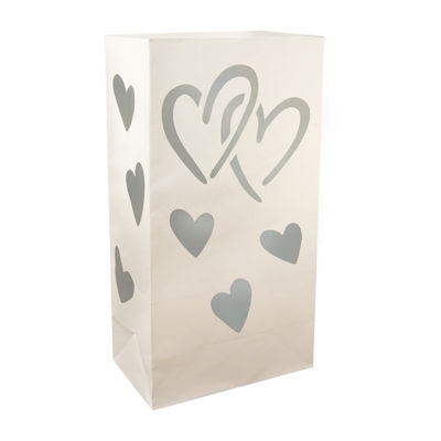 Luminaria Bags- Hearts, Set of 24