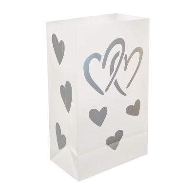 Plastic Luminaria Bags - Hearts, Set of 12