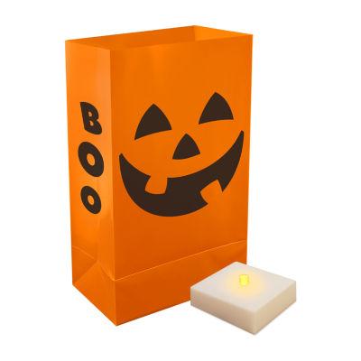 Battery Operated Luminaria Kit with Timer- Orange Jack O' Lantern, Set of 6