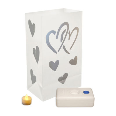Battery Operated Luminaria Kit- Hearts, Set of 12