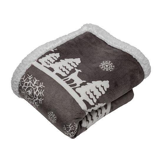 Deerly Sherpa Throw Blanket