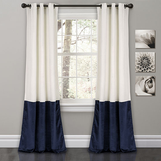 Half Moon Prima Velvet Color Block Room Darkening Window Curtain Set