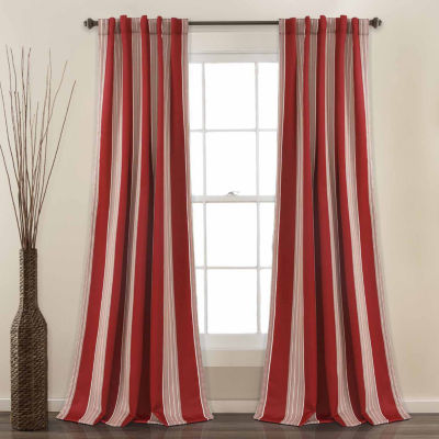 Half Moon Julia Stripe Room Darkening Window Curtain Set