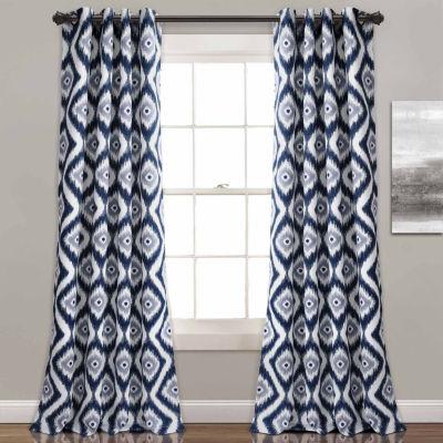 Half Moon Diamond Ikat Room Darkening Window Curtain Set