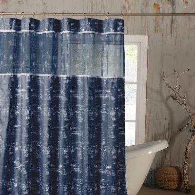 Duck River Ella Satin Look Microfer Shower CurtainWith Sheer Border