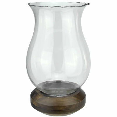 """17"""" Wavy Edged Clear Glass Hurricane Pillar Candle Holder with Wooden Base"""""""