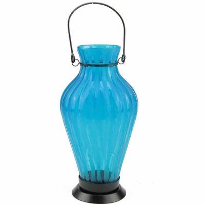 "9.5"" Frosted Ribbed Vase Glass Bottle Tea Light Candle Lantern Decoration"