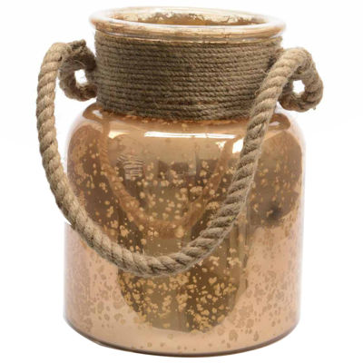 """Seaside Treasures Copper Colored Glass Hurricane with Rope Handle 9.5"""""""