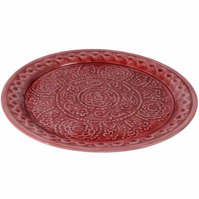 """16.5"""" L'Eau de Fleur Embossed Rose Floral Decorative Plate Platter"""""""