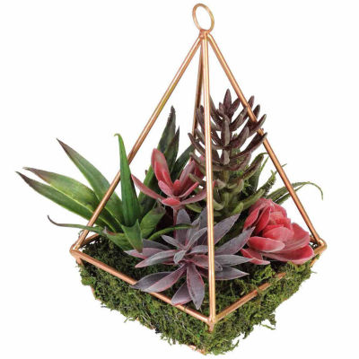 "9"" Artificial Succulents Arrangement in 4-Sided Copper Metal Wire Frame"""