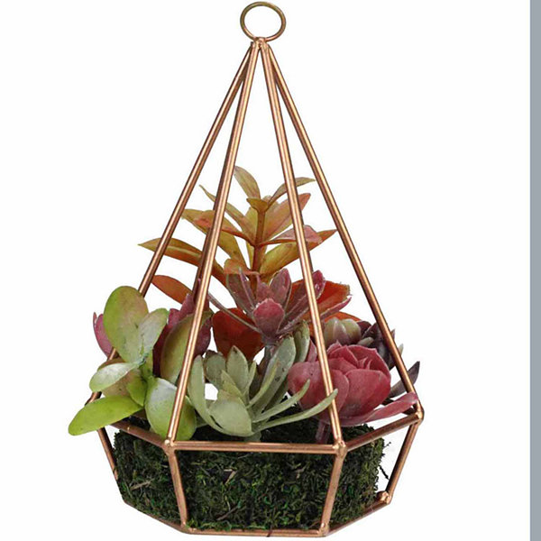 "9"" Artificial Succulents Arrangement in 6-Sided Copper Metal Wire Frame"