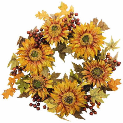 "24"" Autumn Harvest Sunflower Berry Wreath - Unlit"