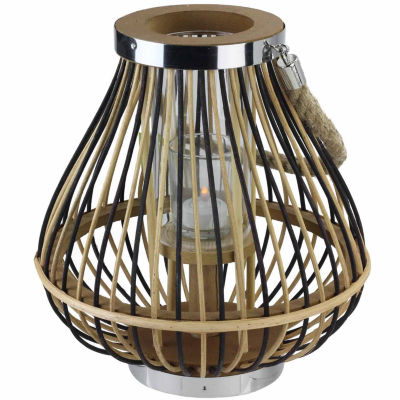"11"" Rustic Chic Pear Shaped Rattan Candle Holder Lantern with Jute Handle"""