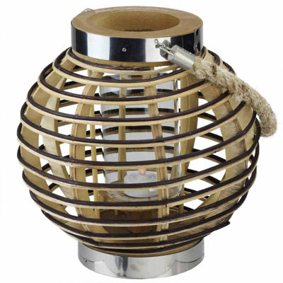 "9.5"" Rustic Chic Round Rattan Decorative Candle Holder Lantern with Jute Handle"""