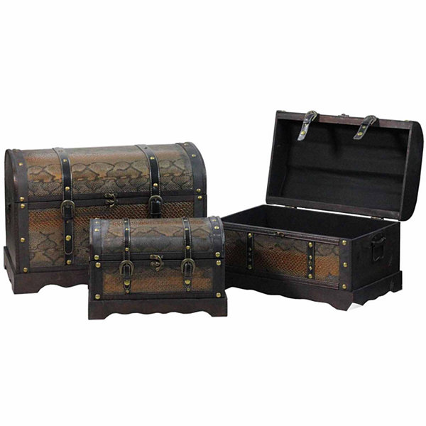 Set of 3 Decorative Antique Brown Wood and Faux Snakeskin Storage Boxes 22.5""