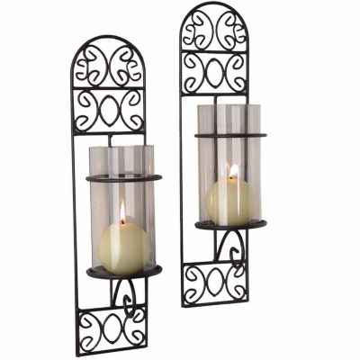 Danya B. Set of Two Metal Filigree Wall Sconces -Madeira