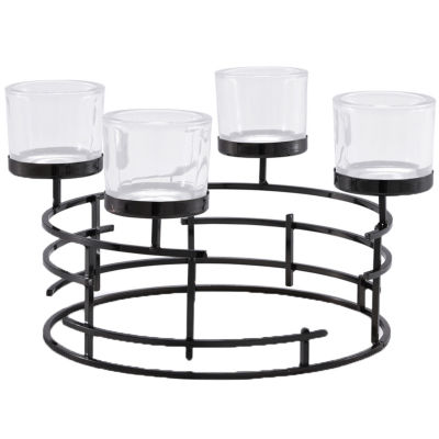 Danya B. Metallic Smoke Black Round Candle Holder