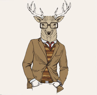 Metaverse Art Deer-Man By Graphinc Gallery Wrapped Canvas Wall Art