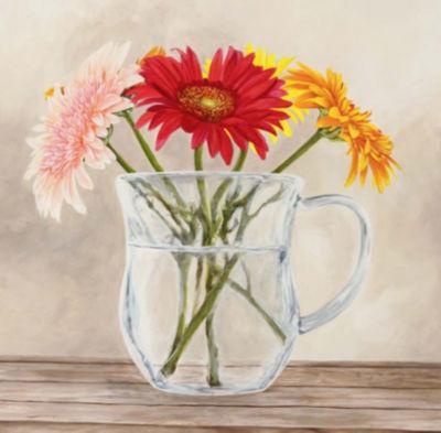 Metaverse Art Fleurs et Vases Jaune I Gallery Wrap Canvas Wall Art