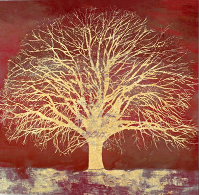 Metaverse Art Crimson Oak Gallery Wrap Canvas Wall Art