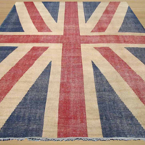Eastern Rugs Hand-knotted Casual Flag Union Jack British Flag Rug
