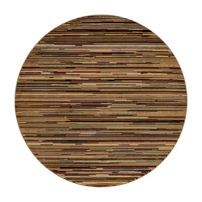Concord Global Trading Jewel Collection Striation Stripes Multi Round Area Rug