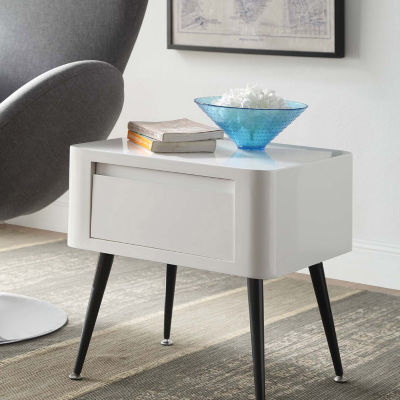 4D Concepts Edge Black And White Side Table - Short