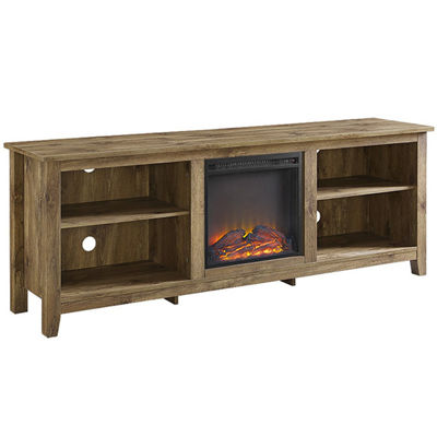 "70"" Wood Media TV Stand Console with Electric Fireplace"