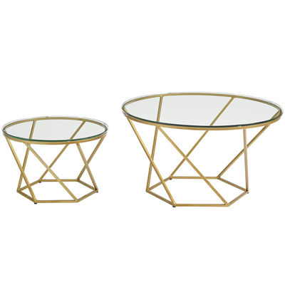 Geometric Glass Nesting Coffee Table Set