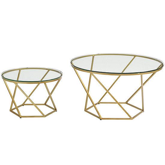 Geometric Glass Nesting Coffee Table Set