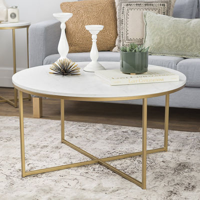 Faux-Marble X-Base Coffee Table