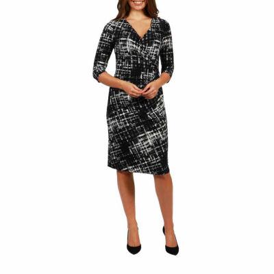 24/7 Comfort Apparel Royal Faux Wrap Dress