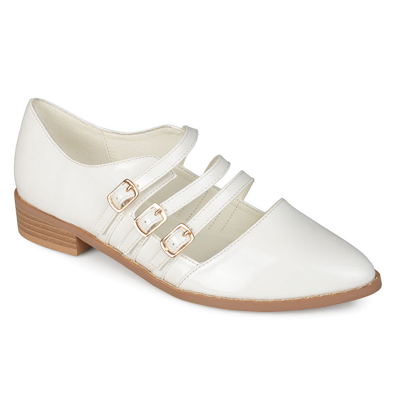 Edwardian Shoes & Boots | Titanic Shoes Journee Collection Womens Elyse Slip-On Shoe Pointed Toe Size 6 12 Medium White $55.24 AT vintagedancer.com