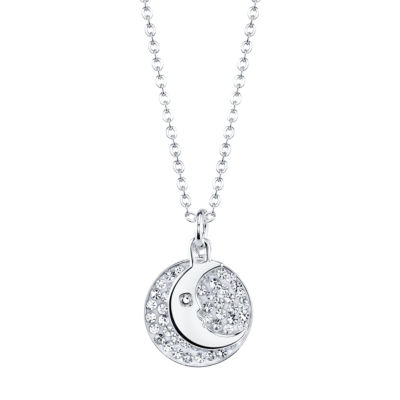 Crystal Sophistication™ Crystal-Accent Moon Disk Pendant Necklace