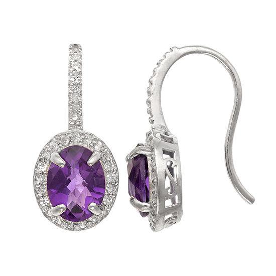 Genuine Purple Amethyst Sterling Silver Oval Drop Earrings